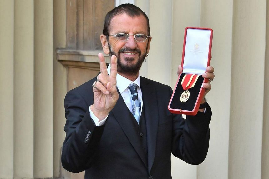 Former Beatles drummer Ringo Starr (pictured) was knighted by Prince William with a ceremonial sword to become Sir Richard Starkey.
