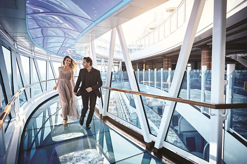 Take in the splendour of the ocean on the SeaWalk, a dramatic glass walkway jutting out from the ship's edge. PHOTO: PRINCESS CRUISES