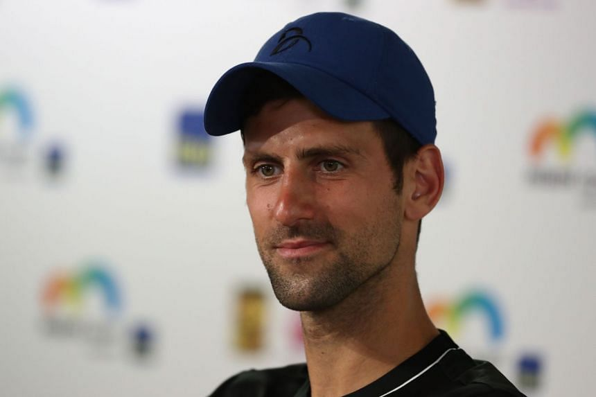 Djokovic speaking to the press during Day 2 of the Miami Open.