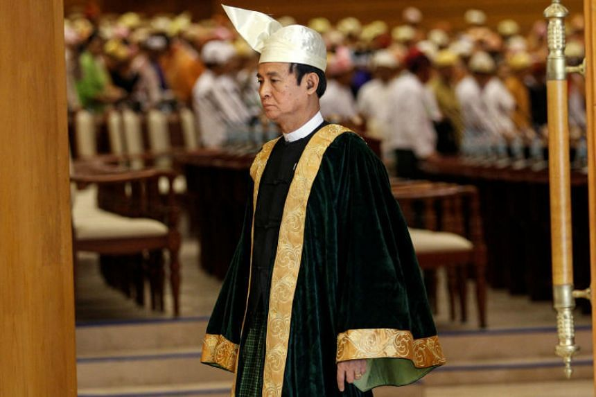U Win Myint, Speaker of Lower House of Parliament, leaves after attending a parliament meeting at Naypyitaw, Myanmar, on March 11, 2016.