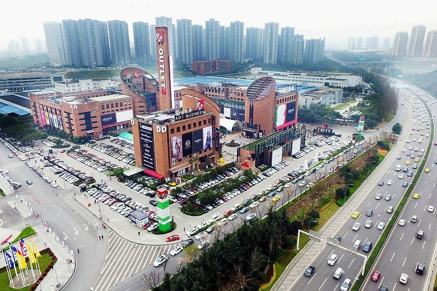 An outlet mall in Chongqing that is part of the portfolio of Sasseur Reit, which will be the first outlet mall Reit to be listed in Asia. Other malls in its portfolio are in Hefei, Bishan and Kunming.