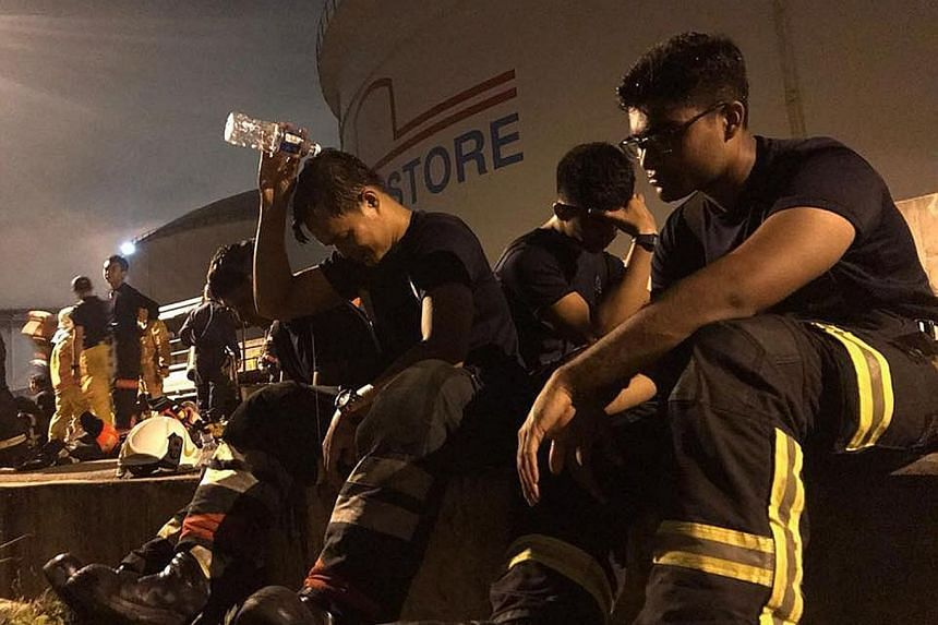 "The SCDF said the heat from the burning tank posed a major challenge to firefighters. The prolonged operation saw firefighters taking turns to recuperate before heading back ""into the thick of action""."
