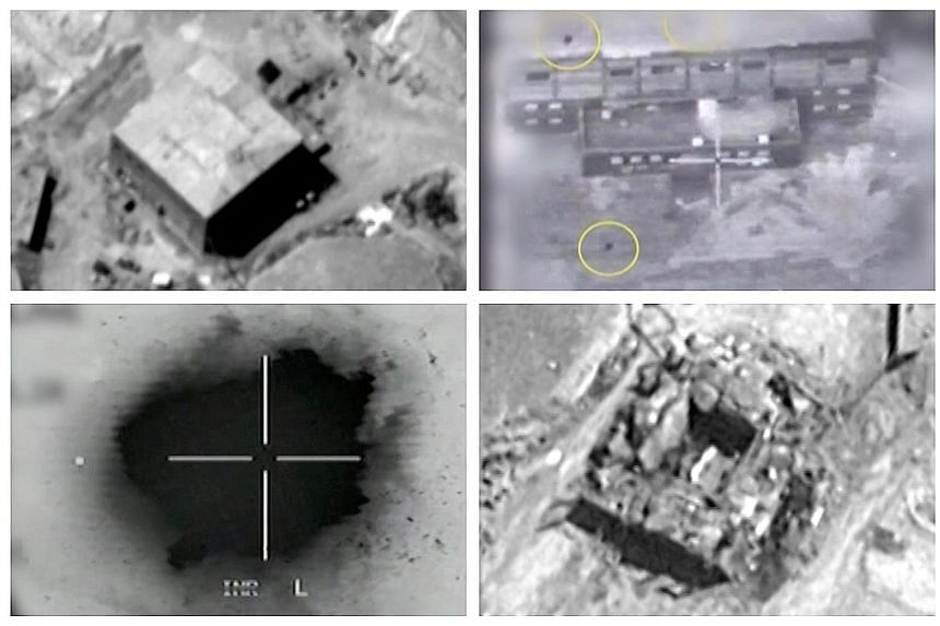 Screen grabs from the material released by Israel yesterday show (top, left) the alleged nuclear reactor site in Syria before the attack; (top right) yellow circles depicting bombs during the air strike; (bottom, left) an explosion during the air str