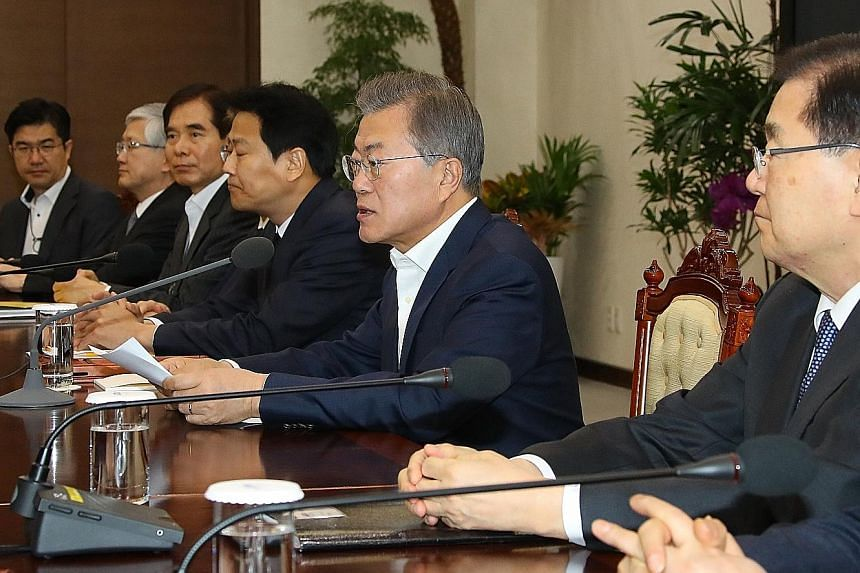 """South Korean President Moon Jae In, who is set to meet North Korean leader Kim Jong Un next month, speaking in Seoul yesterday at a preparatory meeting for the inter-Korean summit. The South Korean leader said that the aim of talks should be a """"compl"""