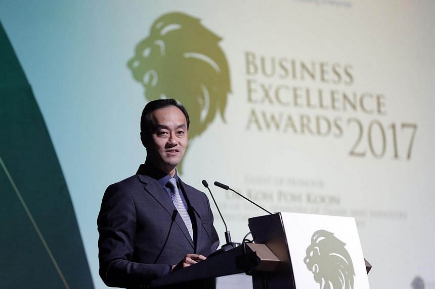 Senior Minister of State, Ministry of Trade and Industry and National Development Koh Poh Koon speaking at the Business Excellence Awards on Oct 26, 2017.