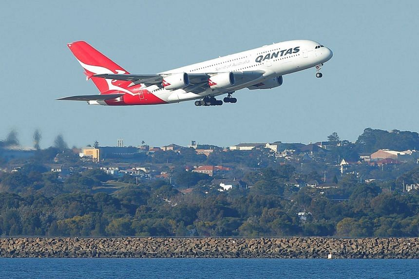 A Qantas A380 aircraft takes off from Sydney International Airport in Australia on Aug 22, 2017.