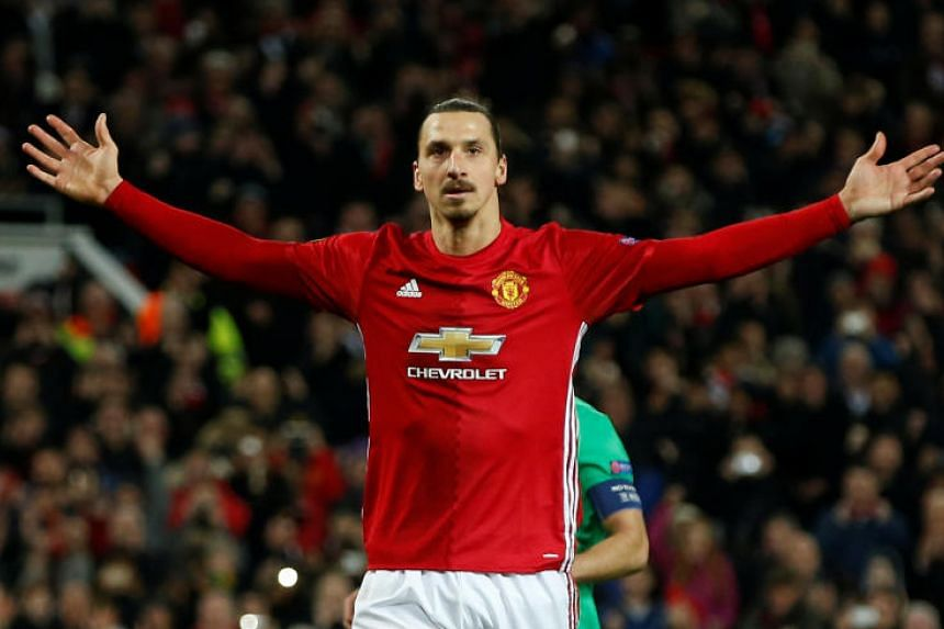 Manchester United's Zlatan Ibrahimovic celebrates scoring their third goal at Old Trafford, Manchester, Britain on Feb 16, 2017.