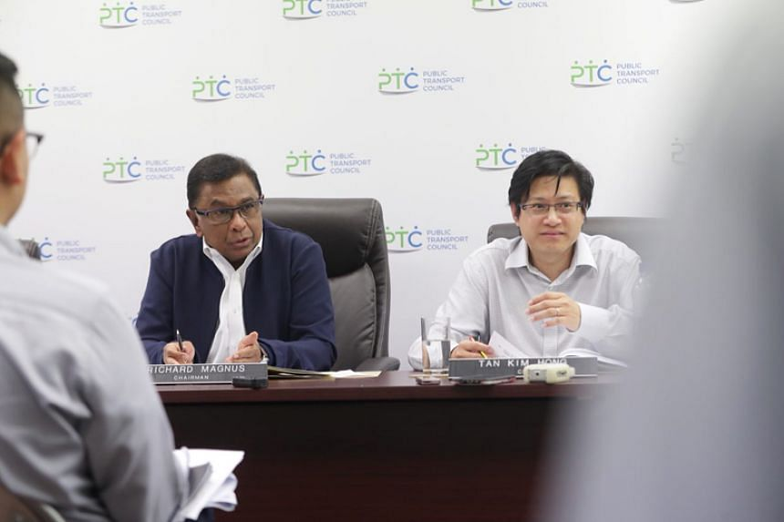 Public Transport Council chairman Richard Magnus and chief executive Tan Kim Hong at a press conference on March 22, 2018.