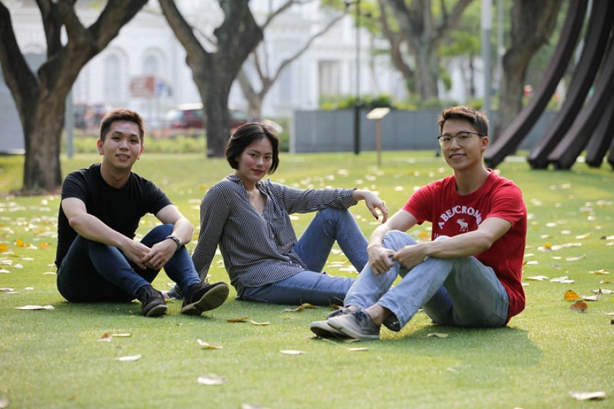 (From left) Mr Darius Tan, who will be entering Singapore Management University's (SMU) School of Law, Ms Terri Tan, who went on three overseas trips with SMU, and Mr Damien Choo, who will be joining SMU's School of Accountancy.