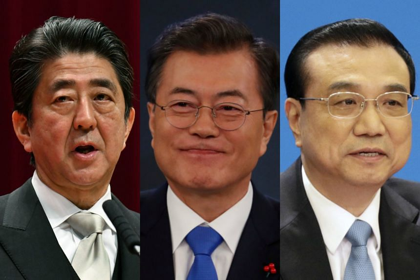 The summit is to be chaired by Japan and attended by (from left) Japanese Prime Minister Shinzo Abe, South Korean President Moon Jae In and Chinese Premier Li Keqiang.