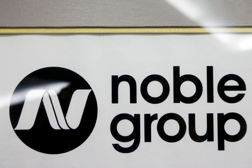 A Noble Group sign pictured at a meet-the-investors event in Singapore.