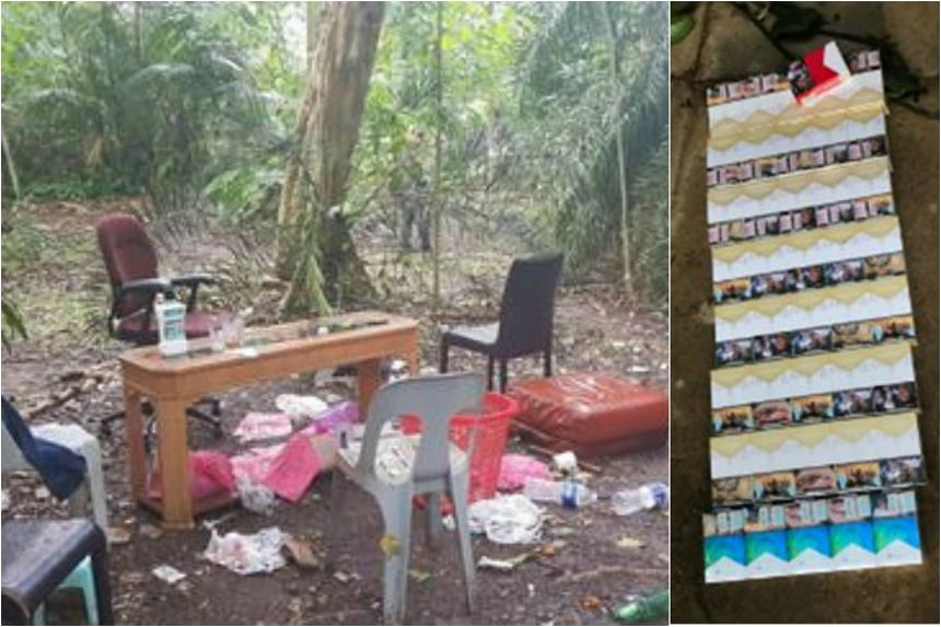 The seven men were arrested near Zhenghua Flyover. 81 packets of contraband cigarettes were also found.