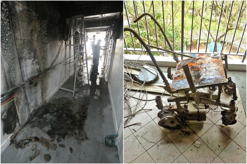 Singapore Civil Defence Force officers responded to a fire involving items placed along a corridor on the seventh floor of 8, North Bridge Road, on March 21, 2018.