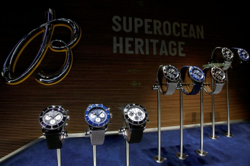 Superocean Heritage watches of Swiss watch manufacturer Breitling are displayed at the Baselworld watch and jewellery fair on March 21, 2018.