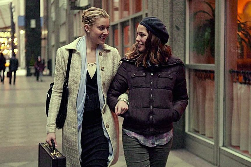 Greta Gerwig (far left) in Mistress America (2015), with Lola Kirke, who plays her soon-to-be stepsister.