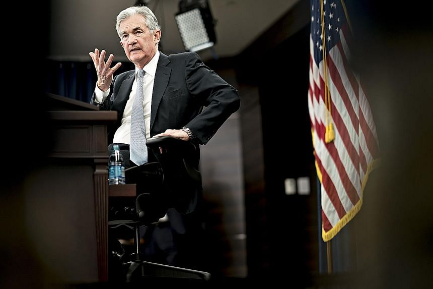 US Federal Reserve chairman Jerome Powell speaking at a news conference following the Federal Open Market Committee meeting in Washington on Wednesday. He said the central bank was staying on a path of gradual rate increases but needed to be on guard