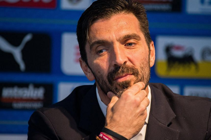 Italy's Gianluigi Buffon at a press conference at the Etihad Stadium, Manchester, Britain, on March 22, 2018.