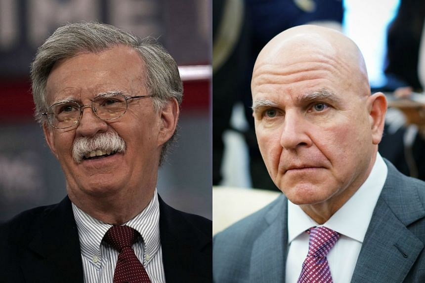 Mr John Bolton (left) will replace Mr H.R. McMaster as US President Trump's new national security adviser.