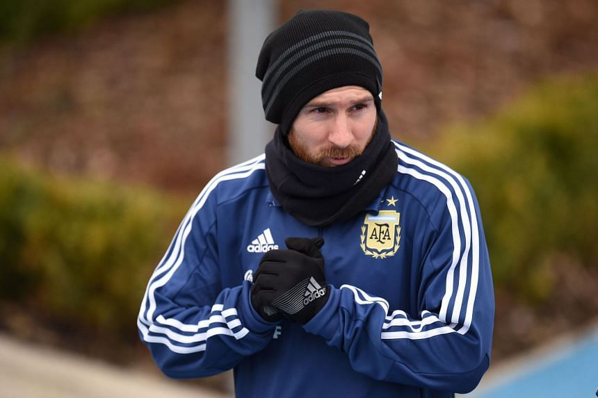 Lionel Messi participates in a team training session at the City Academy training complex in Manchester, on March 21, 2018.