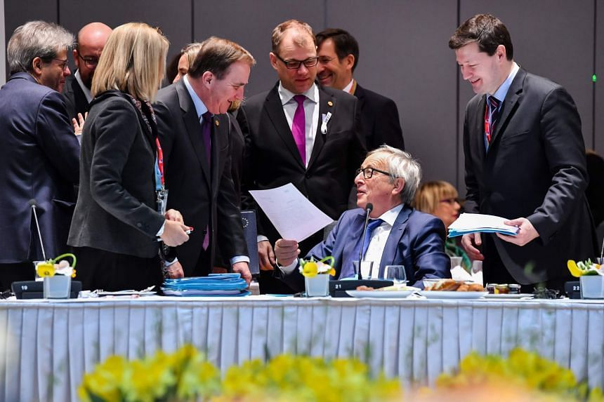 European Union leaders meet on the second day of a summit at the European Council headquarters in Bruxelles on March 23, 2018.