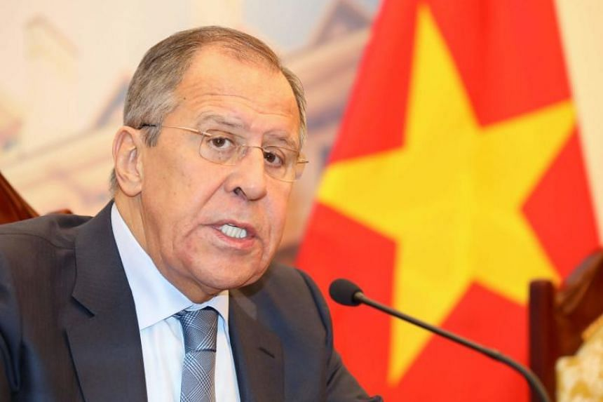 Russia's Foreign Minister Sergei Lavrov speaks during a meeting with his Vietnamese counterpart Pham Binh Minh at the Government Guest House in Hanoi on March 23, 2018.