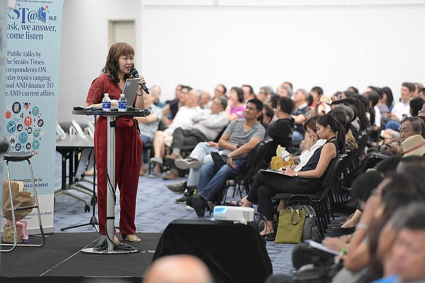 The talk by Straits Times invest editor and senior correspondent Lorna Tan drew a packed audience of about 340 people yesterday, many of whom were taking down notes fervently as she spoke.