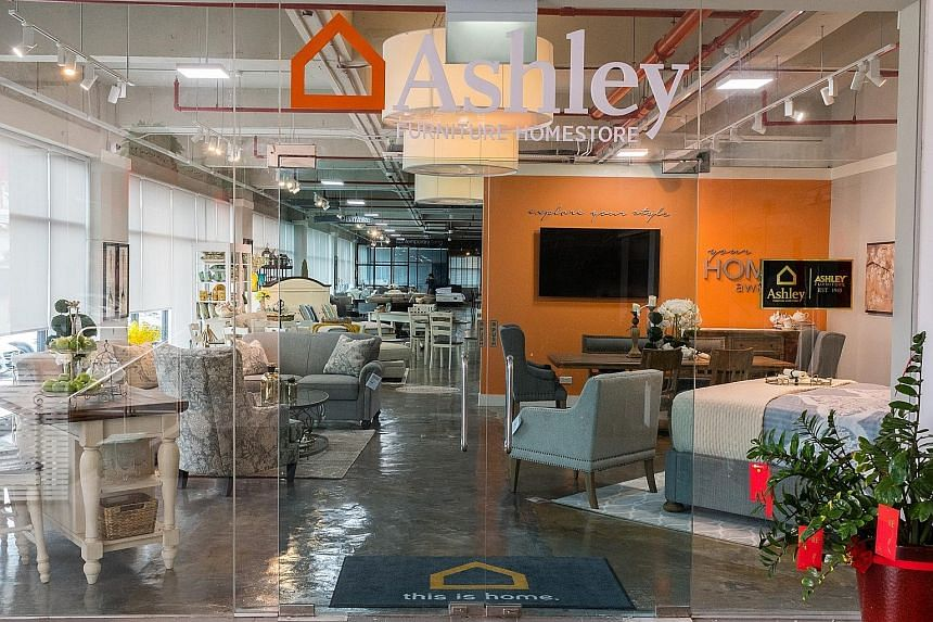 Ashley Furniture HomeStore launched its Singapore store (left) in North East Building in Kallang Way yesterday.