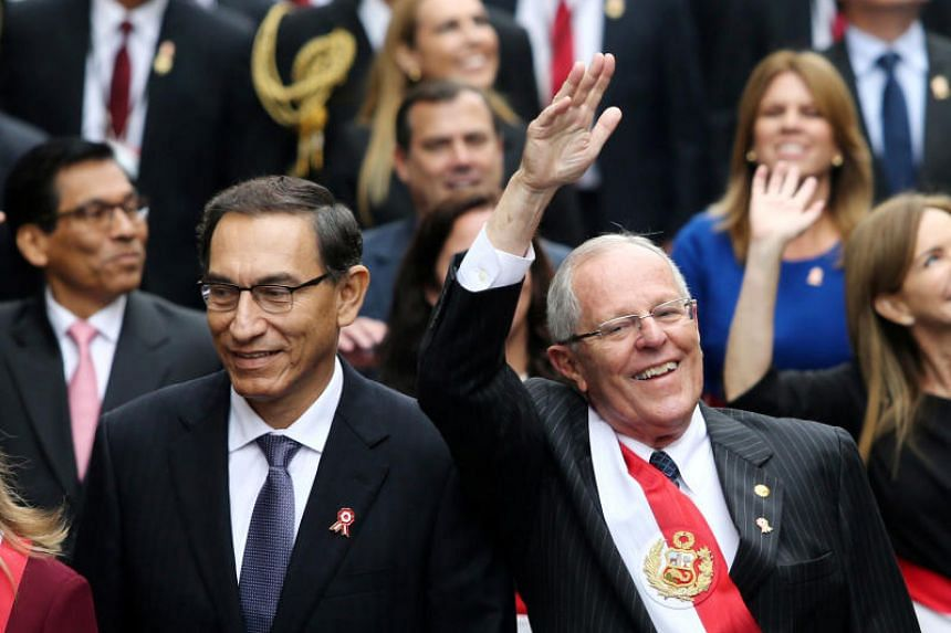 Peru's President Pedro Pablo Kuczynski (right) and vice-president Martin Vizcarra walk to the Congress during independence day celebrations, in Lima, Peru, on July 28, 2017.