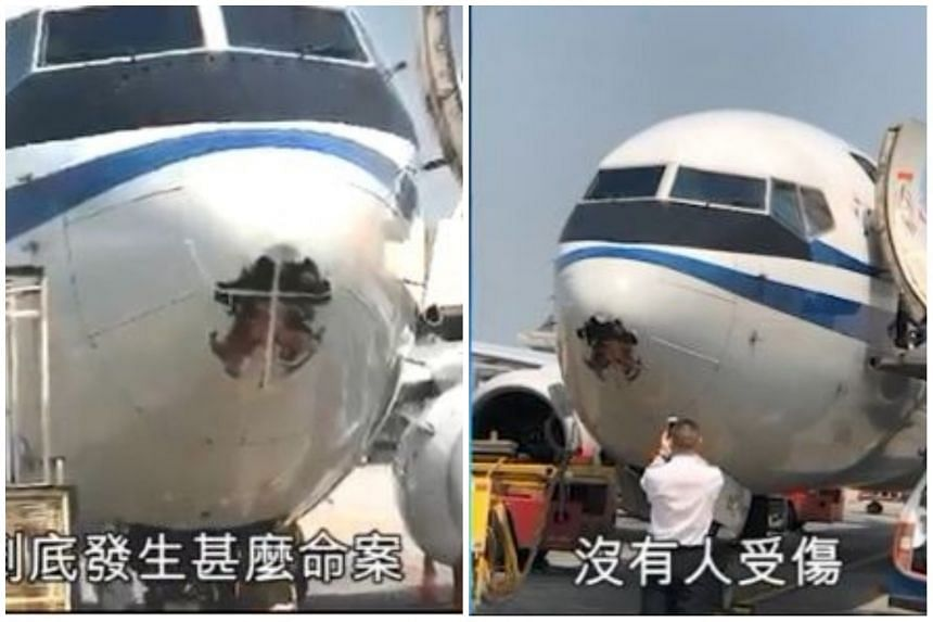 Air China said that the dent, which measured 1m by 1m, was caused by a bird hitting the plane while on its journey from Tianjin to Hong Kong.