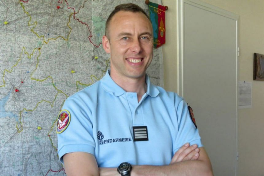 Lieutenant-Colonel Arnaud Beltrame, the gendarme who voluntarily took the place of a hostage during a deadly supermarket siege in southwestern France on March 23, 2018.