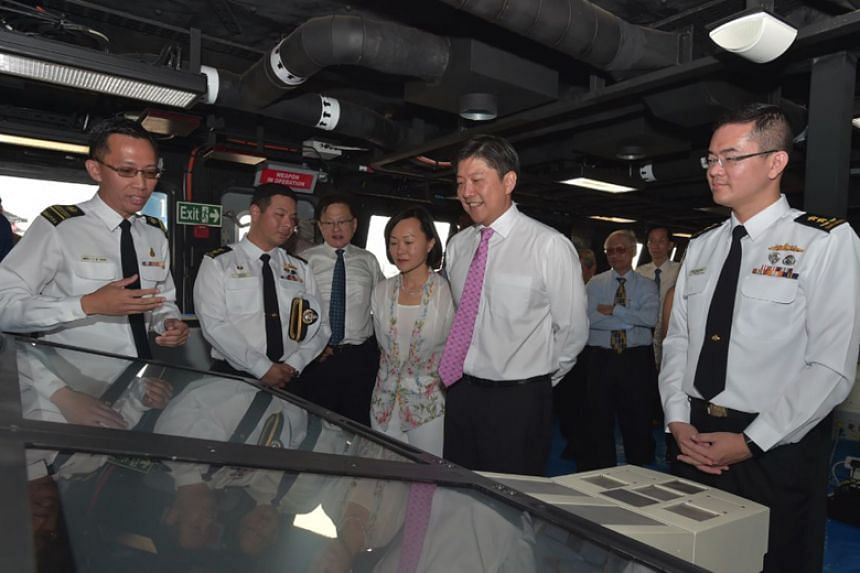 Minister for Education (Schools) and Second Minister for Transport Ng Chee Meng and his wife Mrs Michelle Ng touring the Republic of Singapore Navy's sixth Littoral Mission Vessel, Fortitude, on March 24, 2018.