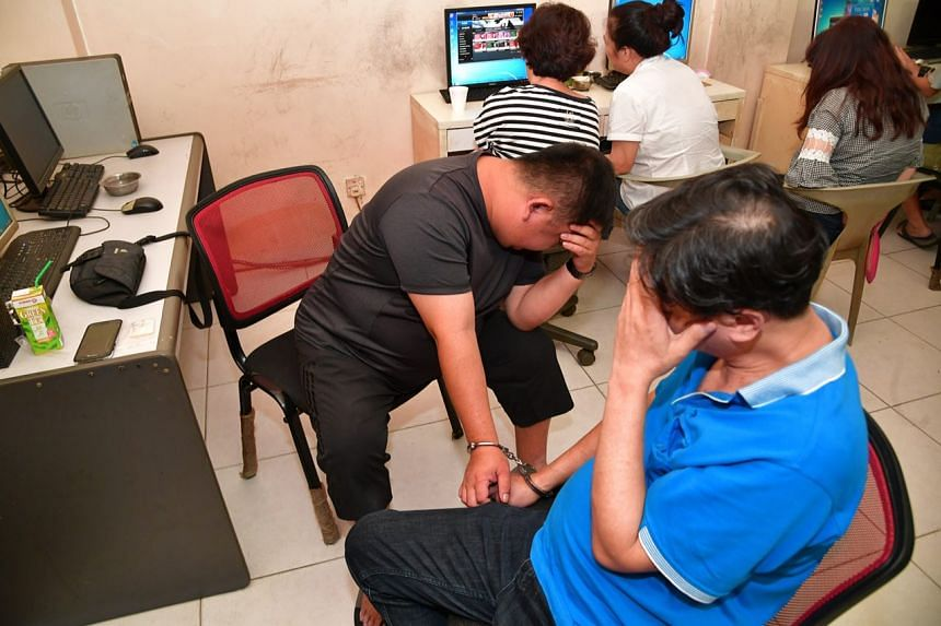 Nine people, including the 58-year-old den operator, were arrested for for illegal gaming offences at Petain Road.