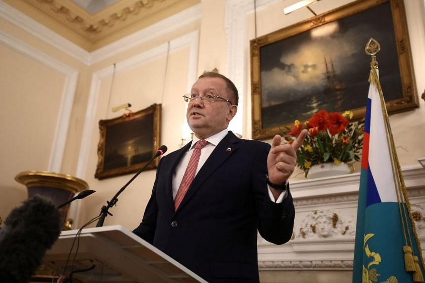 Russia's ambassador to the UK, Alexander Yakovenko, holds a news conference in the Russian Embassy in London, on March 22, 2018.