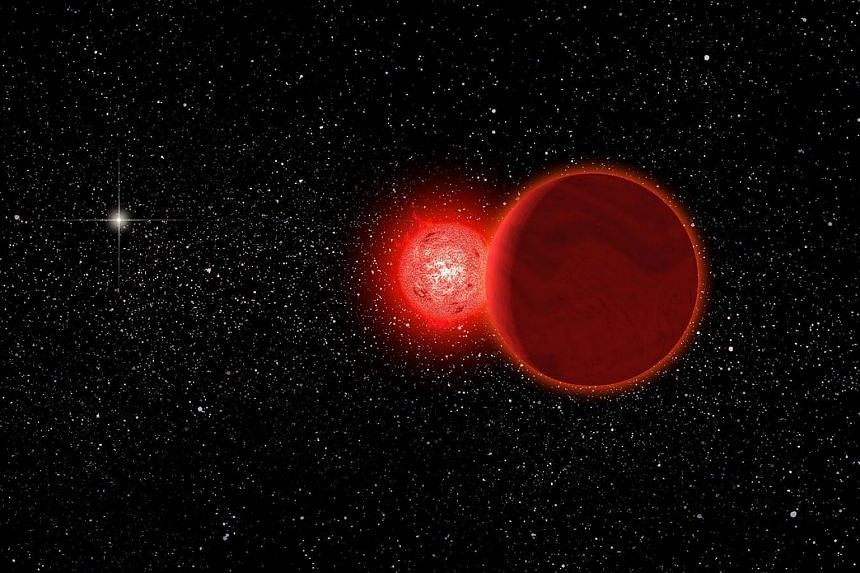 An artist's conception of Scholz's star and its brown dwarf companion during its flyby of the solar system 70,000 years ago.