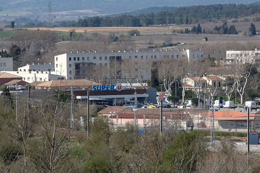 A view of the Super U supermarket in the town of Trebes, southern France, where a man took hostages, on March 23, 2018.