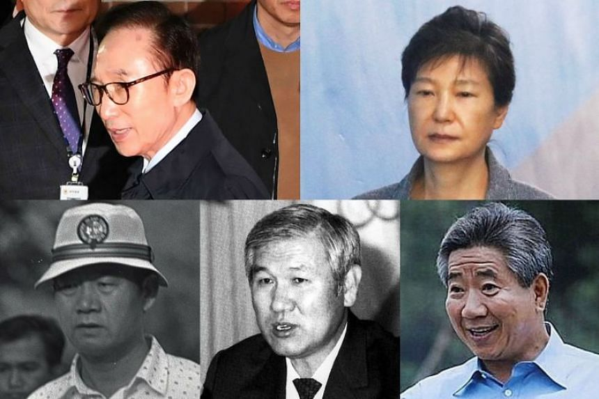 Almost all of South Korea's presidents have seen their reputations tarnished because of corruption scandals. Top row, from left: Lee Myung Bak (2008-2013), Park Geun Hye (2013-2017). Bottom row: Chun Doo Hwan (1980-1988), Roh Tae Woo (1988-1993), Roh