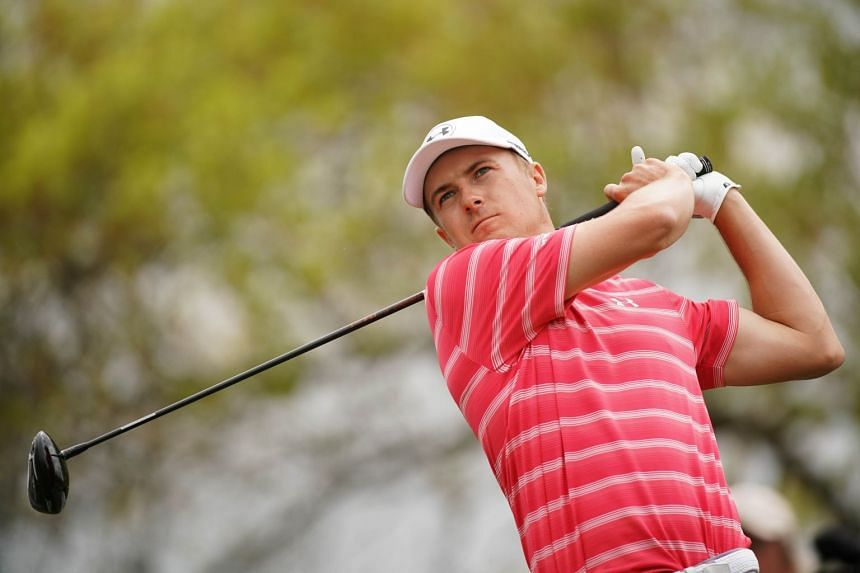 Jordan Spieth plays his shot from the sixth tee during the third round of the World Golf Championships-Dell Match Play at Austin Country Club on March 23, 2018.