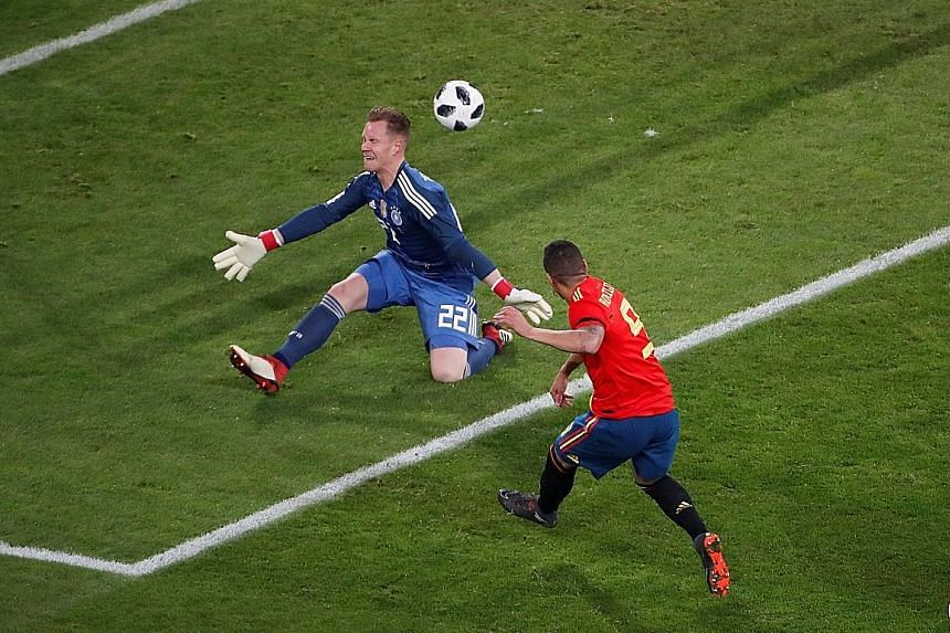 Rodrigo Moreno scoring Spain's sixth-minute opener past Germany goalkeeper Marc-Andre ter Stegen in a 1-1 friendly draw on Friday. The Germans will face another tough test on Tuesday against Brazil, whose coach Tite has said that his team will play ""
