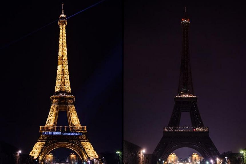 A composite photo shows the Eiffel Tower with light on (left) before and lights off (right) during Earth Hour in Paris, France, on March 24, 2018.