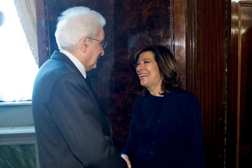 Italian President Sergio Mattarella meets new elected Senate president Maria Elisabetta Alberti Casellati at the Quirinale Palace in Rome, Italy, on March 24, 2018.