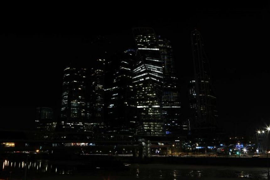 A general view shows the buildings of the Moscow International Business Centre, also known as Moskva-City, after the lights were switched off for Earth Hour, in Moscow, Russia, on March 24, 2018.