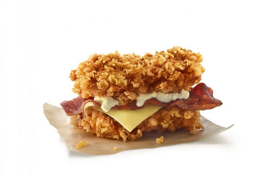 KFC's Zinger Double Down replaces bread with fried chicken. PHOTO: KFC