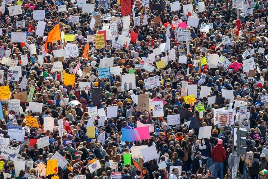 The crowd at the March for Our Lives Rally, as seen from the roof of the Newseum in Washington, DC on March 24, 2018.