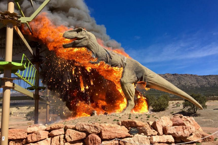 Smoke rises from a replica of a T-Rex after it burst into flames at the Royal Gorge Dinosaur Experience in Canon City, Colorado.