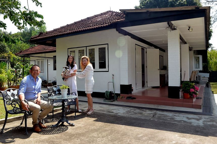 The family now lives in a rented 6,600 sq ft black and white semi-detached house at the former Seletar Airbase. Ms Yap likes the quiet area with the surrounding trees as well as the garden where she can enjoy a cup of English tea and entertain guests.