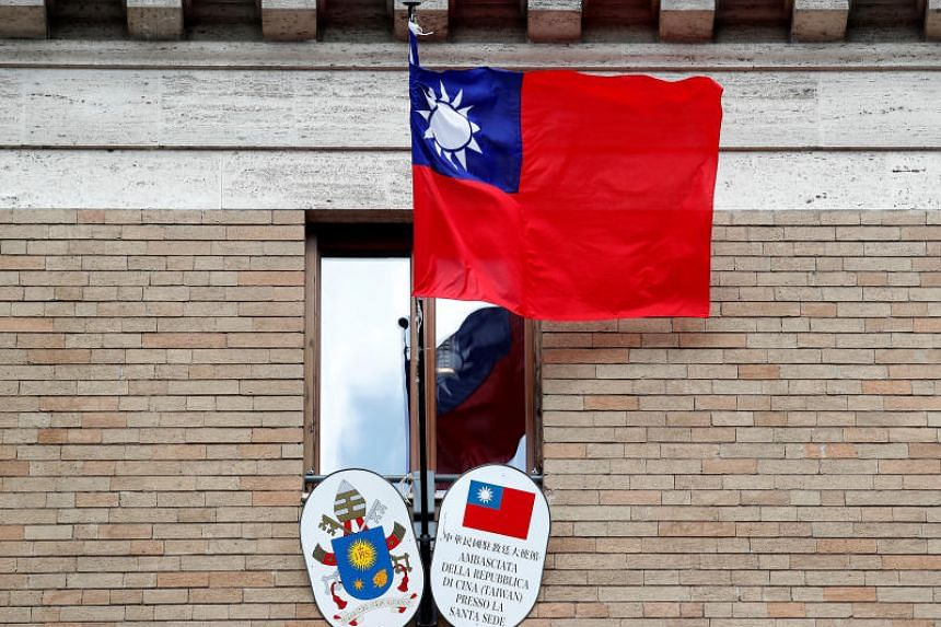The Taiwanese flag flying over the island's Embassy to the Vatican, on March 14, 2018.