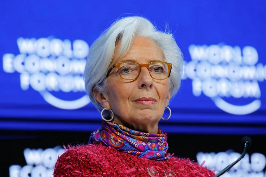 "International Monetary Fund head Christine Lagarde welcomed a ""sustained and broadly shared upswing"" in the global economy."