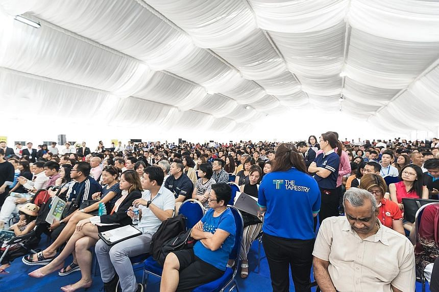 The crowd at the launch of The Tapestry over the weekend. Prices start from $596,000 for a one-bedder at the Tampines project.