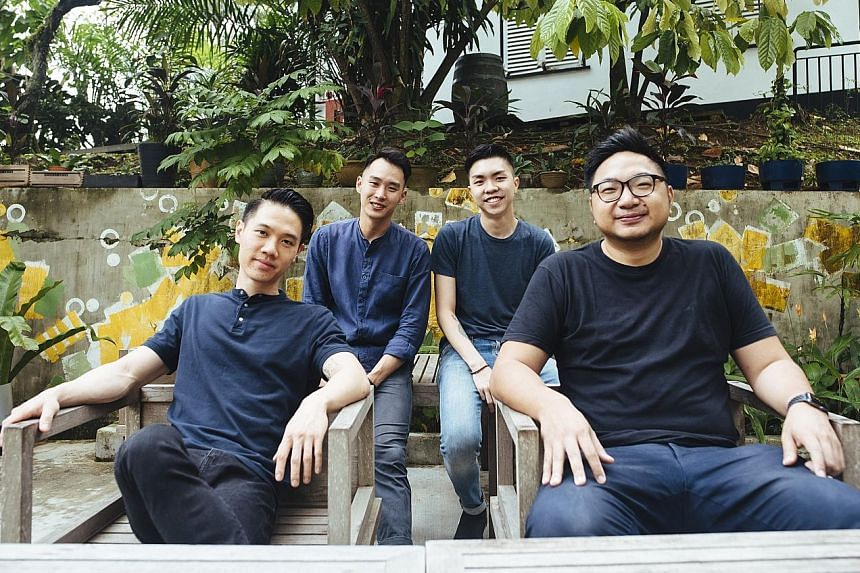 (From left) Chefs Abel Su, Desmond Shen and Marcus Leow and Mr Gabriel Chan, general manager of Magic Square.