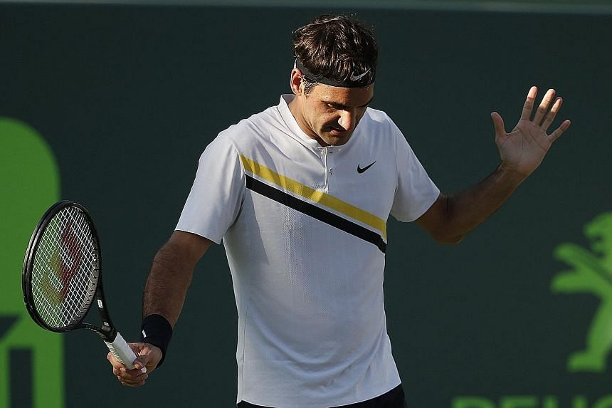 A flustered Roger Federer during his shock 6-3, 3-6, 6-7 (4-7) upset by Australian Thanasi Kokkinakis in the Miami Open second round. Last year, he also took time off after Miami and returned to win an eighth Wimbledon title.